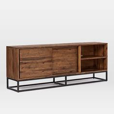"""Family Room  Logan Industrial Media Console (80"""") - Natural / 80""""w x 17""""d x 30""""h"""