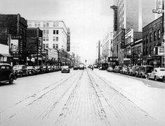Main Street in Akron, Ohio in 1947. My  dad's birthplace. (City Hospital)