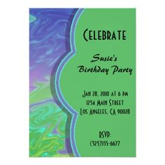Colorful Green Blue Abstract Party Invite. Personalize these custom party invitations for birthdays, anniversary, promotions, bridal showers, holiday parties. Customize the text and message .