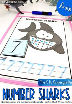 These FREE number puzzles and mats are perfect for Shark Week or an ocean theme. They help kids learn about numbers up to ten. #sharkactivities #sharkweek #sharkprintables #numberactivities #literacycenter #finemotor #preschool #prek #kindergarten #underthesea #ocean