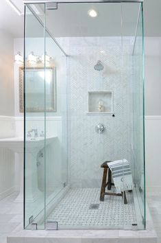 , Traditional Bathroom With Charming White Zig Zag Bathroom Shower Tile Ideas Also Comely White Tile Floor Also Rustic Wooden Bath Stool And Modern Shower Head And Mixer Tap Also Elegant Mirrors With Gold Frame : Adorable Bathroom Shower Tile Designs Idea Home Depot Bathroom Tile, Marble Tile Bathroom, Bathroom Renos, Bathroom Flooring, Small Bathroom, Gold Bathroom, Marble Tiles, Bathroom Ideas, Tuile Chevron