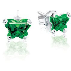 Sterling Silver & Cubic Zirconia MAY Birthstone Butterfly Bfly® CZ Earrings . $39.99