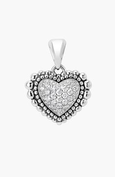 Women's LAGOS Diamond Heart Pendant - Silver