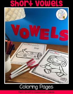 Your Students will ADORE these Coloring Book Pages for Short Vowels! Add it to your plans to compliment any Short Vowels Unit! 50 Coloring Pages For Some Short Vowel Fun! Perfect for bulletin bo Second Grade Teacher, First Grade Classroom, First Grade Math, Reading Centers, Literacy Centers, Writing Centers, Fall Coloring Pages, Coloring Books, Writing Lessons