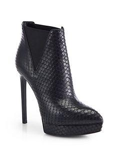 Saint Laurent - Janis Python-Embossed Leather Ankle Boots - Saks.com