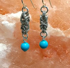 Silver Byzantine and Turquoise Earrings-Byzantine Earrings, Silver and Turquoise, Silver Earring, ShiningHopeJewelry, Silver Chain Earring by ShiningHopeJewelry on Etsy