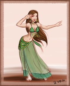 Bellydancer in Green by bellsandy on DeviantArt