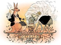 Australia's coat-of-arms, after the abolition of carbon pricing by a right wing extremist government.