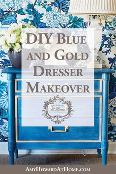 Do you have a dresser or side table with classic style, but you're just not in love with the color or the damaged wood? Amy is sharing her simple tips for changing a drab, old oak 3-drawer dresser into a blue and gold beauty. Follow along with these steps to apply Amy's advice to your next project! Diy Furniture Hacks, How To Clean Furniture, Furniture Cleaning, Furniture Redo, Painting Furniture, White Furniture, Repurposed Furniture, Chalk Paint Dresser, Gold Dresser