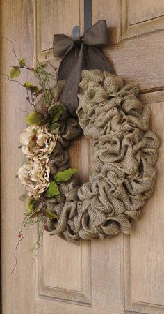 """I like just about """"all things"""" burlap! Burlap Wreath with Beige Peony flowers--Burlap Wreath with Earth Tone Flowers and Accents--Burlap Wreath--Year Round Burlap Wreath--Add decorations for the fall and winter Burlap Projects, Burlap Crafts, Wreath Crafts, Diy Wreath, Craft Projects, Burlap Wreaths, Burlap Flowers, Wreath Ideas, Door Wreaths"""