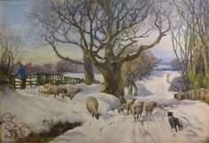 Albert George Stevens (1863-1925): Sheep and Lambs on a Snow covered ...