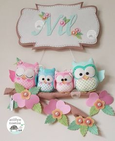 728 Likes, 15 Comments - Elif Baby mobile Owl mobile Baby crib mobile Baby by LoveFeltXoXo - Salvabrani Felt Crafts Patterns, Felt Crafts Diy, Owl Crafts, Baby Crafts, Crafts To Make, Sewing Crafts, Sewing Projects, Felt Wreath, Felt Owls
