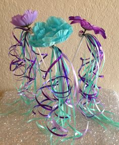 8 Ariel Little Mermaid Princess wands, Purple, Turquoise, Blue Fairy Princess Party Favors