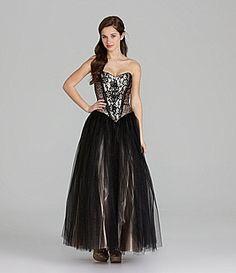 Jessica McClintock Strapless Lace Ballgown #Dillards