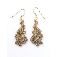 Petal Earrings Small, $45, now featured on Fab. Eco-friendly laser cut bamboo