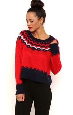 Deb Shops Long Sleeve Scoop Neck Fair Isle Sweater