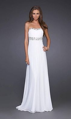 Elegant White Gown by La Femme 15027 LF-15027  Style: LF-15027  Name: Elegant Strapless Prom Dress  Closure: Zipper  Details: Sparkling Accents, Open Back  Fabric: Chiffon  Length: Floor Length  Neckline: Slight Sweetheart, Strapless  Waistline: Empire""