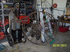 First acquisition for The Airship Diamler- 4 foot 6 inch tractor wheels