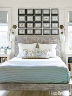 Gallery Wall above a bed House of Turquoise: Tammy Connor Interior Design Beach House Bedroom, Home Bedroom, Bedroom Decor, Master Bedroom, Bedroom Ideas, Bedroom Size, Beautiful Bedroom Designs, Beautiful Bedrooms, House Beautiful