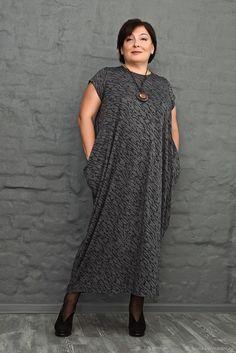 Купить Платье-ромб с коротким рукавом серый с черным рисунком. Арт. 1063 в интернет магазине на Ярмарке Мастеров