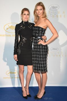 Doutzen Kroes and Karlie Kloss showed off their supermodel good looks in coordinating ensembles at the diner after the opening ceremony of the 68th Cannes Film Festival.