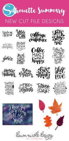 Silhouette Summary: October's New Cut File Designs. A monthly recap of all the designs I've added to the Silhouette Design Store.