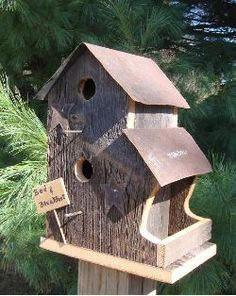 Reclaimed Barnwood Duplex Bed and Breakfast Inn Birdhouse and Feeder