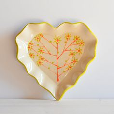 Ceramic Heart Dish Heart Plate Clay Plate Pottery by PotsbyNives