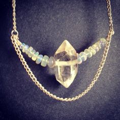 Ethiopian welo opal and quartz necklace  by thisthatandthese, $28.00