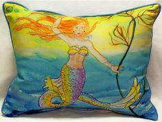 Betsy's Mermaid Indoor Outdoor Pillow: Coastal Home Decor, Nautical Decor, Tropical Island Decor & Beach Furnishings