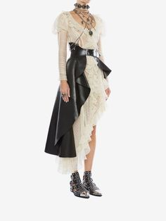 Shop Women's Knitted Lace Asymmetric Mini Dress from the official online store of iconic fashion designer Alexander McQueen. Look Fashion, Runway Fashion, High Fashion, Fashion Outfits, Womens Fashion, Fashion Design, Fashion Trends, Gothic Fashion, Haute Couture Fashion