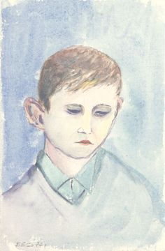 E. Besozzi pitt. s.d. 1954 Viso acquerello su cartoncino cm. 16,8x11,9 arc. 427