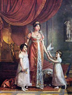 Jean-Baptiste Wicar - Portrait de la reine Julie Bonaparte avec ses deux filles