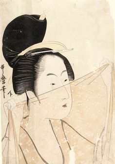 Woman holding up a piece of silk gauze fabric. Ukiyo-e woodblock print, about Japan, by artist Kitagawa Utamaro Japanese Artwork, Japanese Prints, Japan Painting, Traditional Japanese Art, Art Asiatique, Art Japonais, Sketch Painting, Art Institute Of Chicago, Japan Art