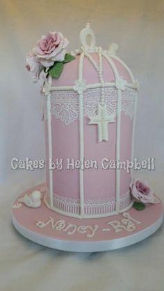 Birdcage Christening Cake - Cake by Helen Campbell