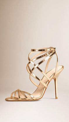 Gold Slim Strap Metallic Leather Sandals - Image 1