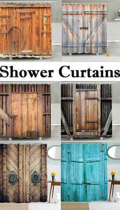 Vintage Mildew Resistant Fabric Bath Shower Curtain