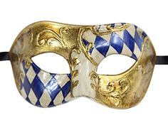 Luxury Mask Men's Vintage Design Masquerade Prom Mardi Gras Venetain, Blue/Gold Half Checkered, One Size Luxury Mask http://www.amazon.com/dp/B010HTHWNG/ref=cm_sw_r_pi_dp_bzvdxb1FD5MJX