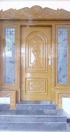 Super Ideas for wooden door entrance stones House Front Wall Design, Home Door Design, Wooden Front Door Design, Wood Front Doors, Arched Doors, Wooden Doors, Glass Door Coverings, Door Design Images, Single Door Design