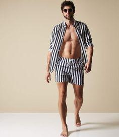 cab0caf650 Mens Fashion Clothing - View The Best Popular Fashion Lines. Reiss Flint  Striped Swim Shorts