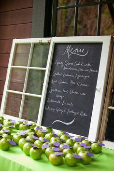Chalkboard menu.