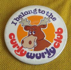 Vintage/Retro I belong to the Curlywurly Club Badge/Button