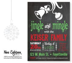 Christmas Party Invitation Jingle and Mingle by NineEighteen