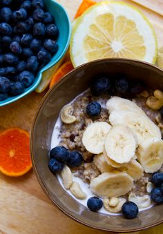 Chia Walnut Oatmeal  4 cups water  1 cup steel oats  1/4 tsp salt  1/2 cup organic raisins  1 1/2 Tbsp chia seeds  1/2 cup raw walnuts    Over top for each serving bowl:  splash of soy creamer (or soy milk)  1/2 banana, sliced  1/4 cup fresh berries  2 tsp raw cashews (or other nuts)  maple syrup to taste