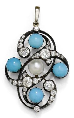 AN ANTIQUE TURQUOISE, PEARL AND DIAMOND PENDANT, CIRCA 1900. Openwork pendant set to the centre with one pearl with four turquoise cabochons set at the compass points, further set with 28 old European-cut diamonds, mounted in silver and rose gold. 4.4 x 2.5 cm. #antique #pendant