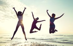 friendship, summer vacation, freedom, happiness and people concept - group of happy female friends dancing and jumping on beach Stock Photo , Happy Facts, Photos Black And White, Magnesium Benefits, Getting More Energy, Believe, Chronic Migraines, Chronic Illness, Friends Laughing, Health Research
