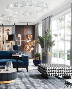 Modern Interior Design, Luxury Interior, Interior Design Living Room, Living Room Designs, Living Room Decor, Neoclassical Interior Design, Living Spaces, London Mansion, Lobby Interior