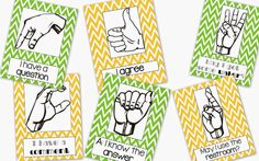 Eliminate students blurting out. Use these Silent Hand Signal Posters for the classroom.