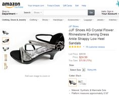 JJF Shoes AG Crystal Flower Rhinestone Evening Dress Ankle Strappy Low Heel Sandals.  These are crystal dress sandals featuring with rhinestone flower decor on the side at ankle, and rhinestone straps well-wrapped your feet. They will add glamour to your outfit for a special evening when you walk on. Finished with a side hook-and-loop closure for easy on/off.
