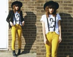 Yellow jeans with suspenders. w/o the hat Suspender Jeans, Yellow Jeans, Dress Outfits, Fashion Outfits, Rocker Chic, Vintage Girls, Office Fashion, Korean Outfits, Suspenders